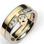 Vigselring av rött och vitt guld med diamanter - Erik Tidäng